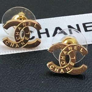 Authentic Chanel Double CC classic Stud earrings